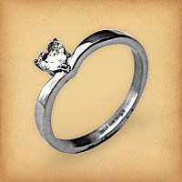 Stainless Steel Sweetheart Solitaire Ring