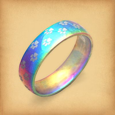 Steel Rainbow Pawprint Ring