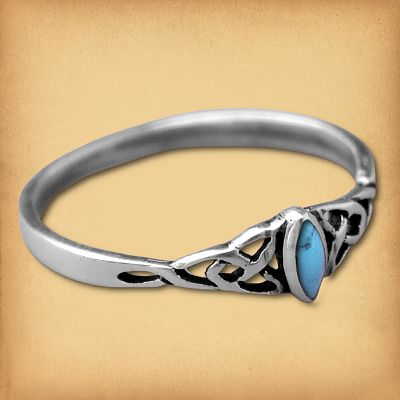 Silver Dainty Celtic Turquoise Ring
