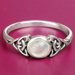Silver Celtic Moonstone Ring