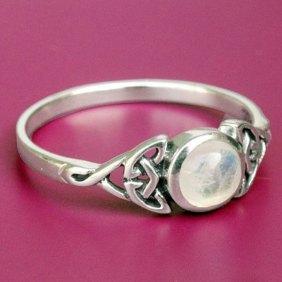 Silver Moonstone Celtic Ring