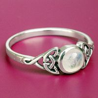 Silver Moonstone Celtic Ring - Rings - Celtic, Fantasy, Pagan, Claddagh, Wedding and More, Moons & Stars, Sterling Silver Rings - Celtic, Pagan, Fantasy, Claddagh, Nature, Witch, Wiccan, Moonstone Jewelry, Moon Jewelry