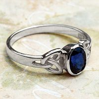 Silver Sapphire Celtic Ring