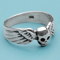 Silver Winged Skull Ring