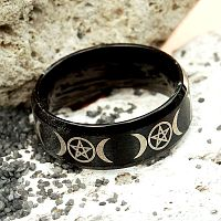 Black Steel Triple Moon Ring
