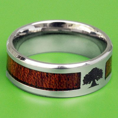 Wood Inlay Tree of Life Ring