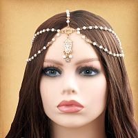 Faux Ivory Beaded Fantasy Headpiece